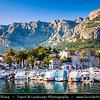 Europe - Croatia - Hrvatska - Central Dalmatia - Adriatic Coast - Makarska Rivijera - Makarska - Main beach resort built around a deep sheltered bay & backed by the dramatic rocky heights of Mount Biokovo 1762 m (5,770ft) and impressive Biokovo mountain range