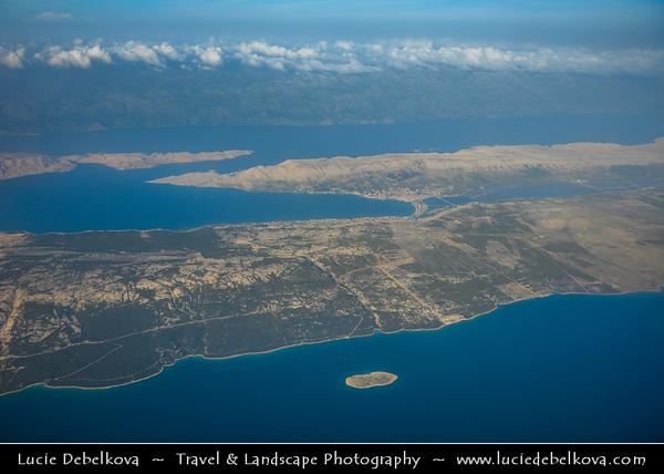 Europe - Croatia - Hrvatska - Dalmatia - Adriatic Coast - Pag Island - Aerial View of Croatian fifth-largest island & one with longest coastline