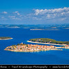 Europe - Croatia - Hrvatska - Central Dalmatia - Adriatic Coast - Primošten - Historical old town situated on small island on Adriatic Sea Coast