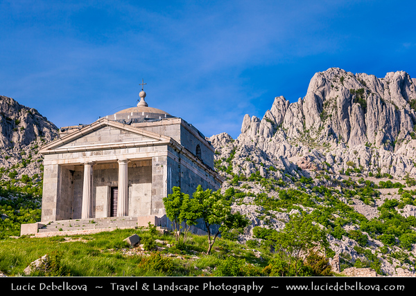 Europe - Croatia - Hrvatska - Dalmatia - Velebit mountain national park - Tulove Grede - Tulo - Tulovice - Unique karst rock formation with its highest peak 1,120 m above sea level - Stone Church Sveti Frane - St. Francis Chapel