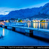 Europe - Croatia - Hrvatska - Central Dalmatia - Adriatic Coast - Makarska Rivijera - Makarska - Main beach resort built around a deep sheltered bay & backed by the dramatic rocky heights of Mount Biokovo 1762 m (5,770ft) and impressive Biokovo mountain range - Twilight - Blue Hour - Night