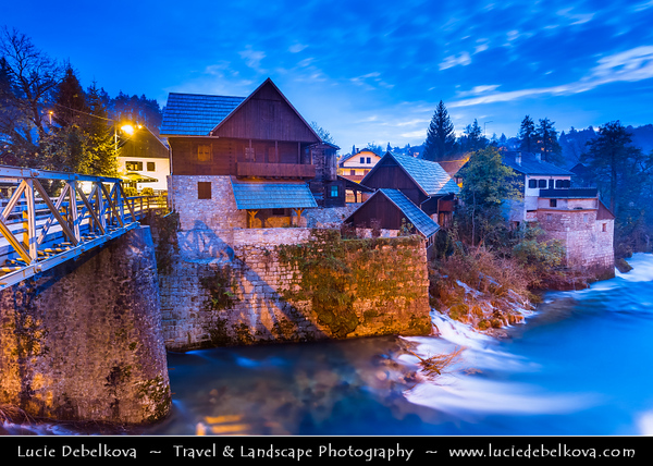 Europe - Croatia - Hrvatska - Slunj - Rastoke - Historic center with well-preserved mills & picturesque little waterfalls along Slunjcica river which flows into river Korana