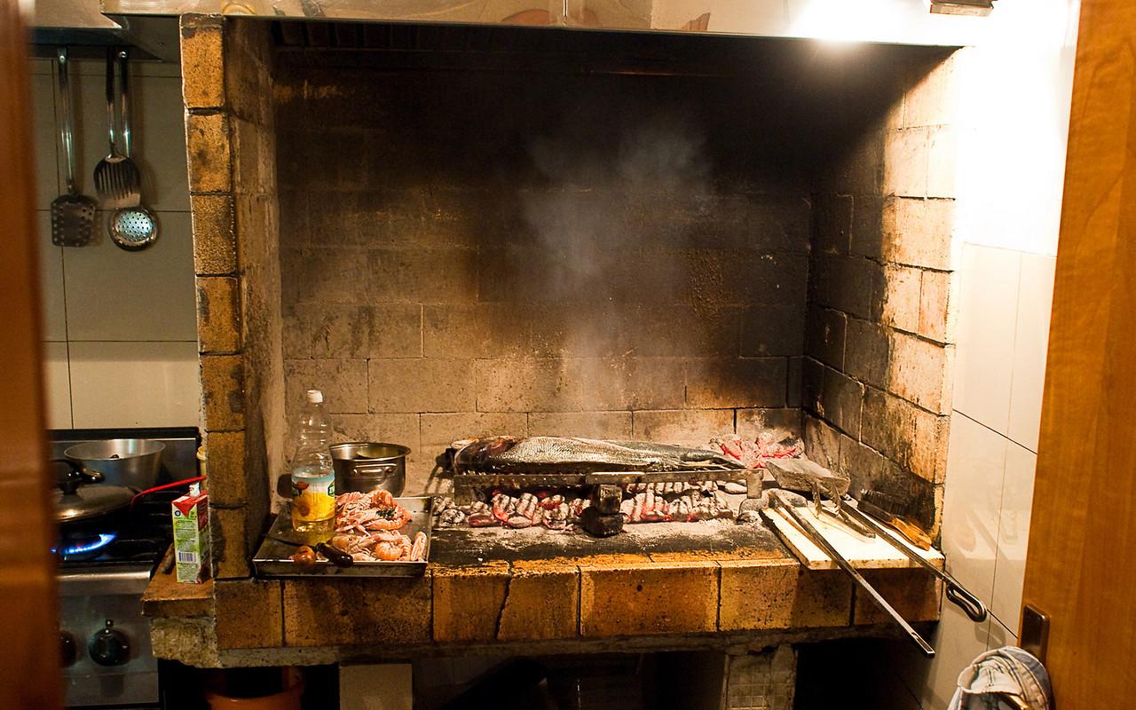 "Fish cooking in a restaurant ""Nostromo"" in Split"