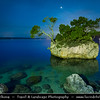 Europe - Croatia - Hrvatska - Central Dalmatia - Adriatic Coast - Makarska Rivijera - Brela Island - Kamen Brela - Brela Stone - Small rock island on the Punta Rata beach - Night
