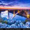 Europe - Croatia - Hrvatska - Dalmatia - Krka Bridge - 391 metres (1,283 ft) long concrete arch bridge spanning Krka River at height of 65 metres (213 ft) between Skradin & Šibenik interchanges at Dusk - Twilight - Blue Hour - Night - Evening - Sunset