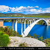 Europe - Croatia - Hrvatska - Central Dalmatia - Adriatic Coast - Šibenski Most - Sibenik Bridge - Road bridge with reinforced concrete arch on Jadranska Magistrala -  Adriatic Highway
