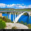 Europe - Croatia - Hrvatska - Central Dalmatia - Adriatic Coast - Šibenski Most - Sibenik Bridge - Road bridge with reinforced concrete arch on Jadranska Magistrala -  Adriatic Highway