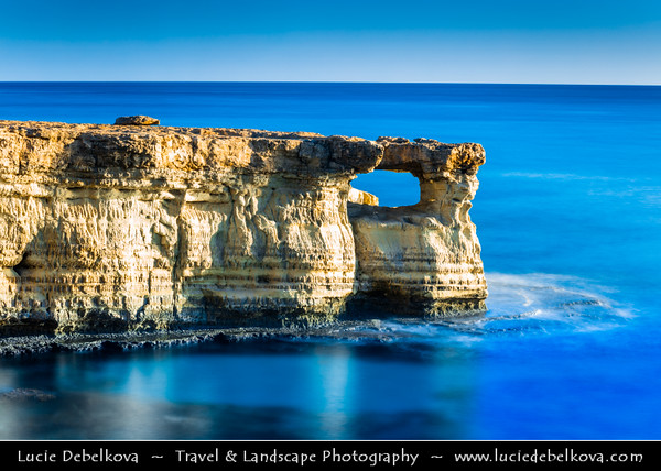 Europe - Cyprus - Κύπρος - Kýpros - Third largest island in Mediterranean Sea - Ayia Napa - Agia Napa - Αγία Νάπα - Southeast coast of Cyprus - Cavo Greco natural park - Cape Greko - Unique sea caves area with natural rock formations created over millenia, surrounded by crystal clear turquoise-colored water