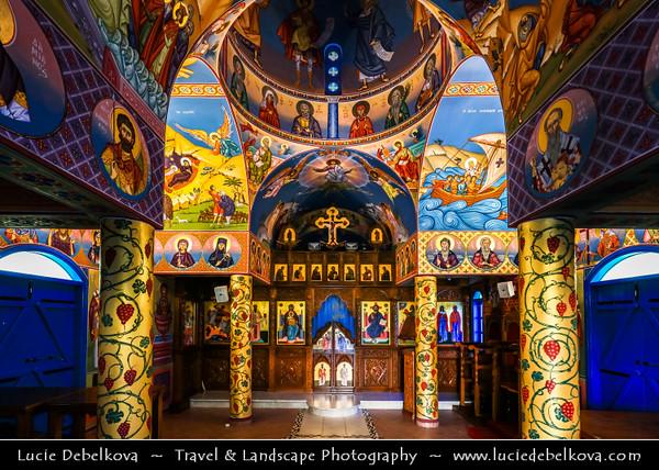 Europe - Cyprus - Κύπρος - Kýpros - Third largest island in Mediterranean Sea - East coast - Protaras - Paralimni - Agios Nikolaos - St. Nicholas church - Typical Greek Orthodox White & Blue chapel located along sea