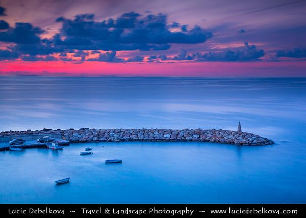 Cyprus - Κύπρος - Kýpros - The third largest island in the Mediterranean Sea - Paphos - Πάφος - Pafos - Baf - Dusk - Twilight - Blue hour at Aghios Georgios Bay