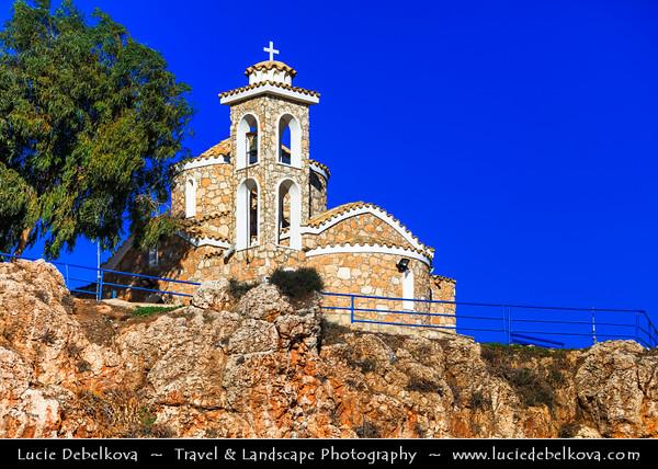 Europe - Cyprus - Κύπρος - Kýpros - Third largest island in Mediterranean Sea - East coast - Protaras - Paralimni - Profitis Elias Church - Typical orthodox church built in Byzantine style overlooking Mediterranean Sea