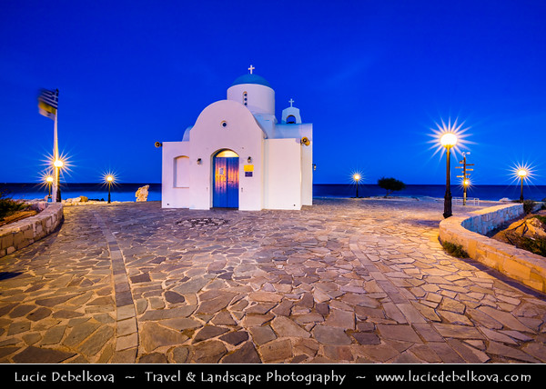 Europe - Cyprus - Κύπρος - Kýpros - Third largest island in Mediterranean Sea - East coast - Protaras - Paralimni - Agios Nikolaos - St. Nicholas church - Typical Greek Orthodox White & Blue chapel located along sea