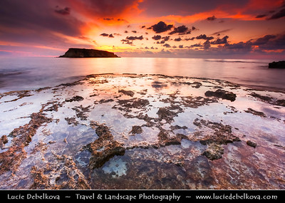 Cyprus - Κύπρος - Kýpros - The third largest island in the Mediterranean Sea - Paphos - Πάφος - Pafos - Baf - Dramatic Sunset at Aghios Georgios Bay