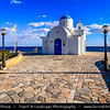 Europe - Cyprus - Κύπρος - Kýpros - Third largest island in Mediterranean Sea - East coast - Protaras - Paralimni - Agios Nikolaos - St. Nicholas church - Typical Greek Orthodox White &Blue chapel located along sea