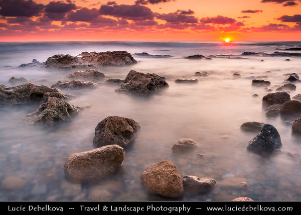 Cyprus - Κύπρος - Kýpros - The third largest island in the Mediterranean Sea - Paphos - Πάφος - Pafos - Baf - Sunset at the city beach
