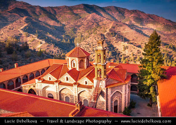 Cyprus - Κύπρος - Kýpros - The third largest island in the Mediterranean Sea - Troodos - The biggest mountain range of Cyprus - Located in the center of the island - Machairas monastery - Machairas - Μαχαιράς - historic monastery dedicated to the Virgin Mary