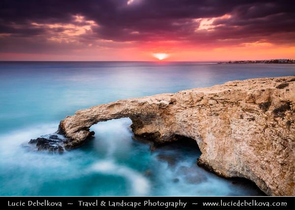 Europe - Cyprus - Κύπρος - Kýpros - Third largest island in Mediterranean Sea - Ayia Napa - Agia Napa - Αγία Νάπα - Southeast coast of Cyprus - Love Bridge - Natural rock arch - Iconic rocky formation