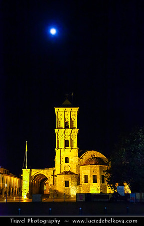 Cyprus - Κύπρος - Kýpros - The third largest island in the Mediterranean Sea - Larnaca - Λάρνακα - Lárnaka - Agios Lazaros church at night