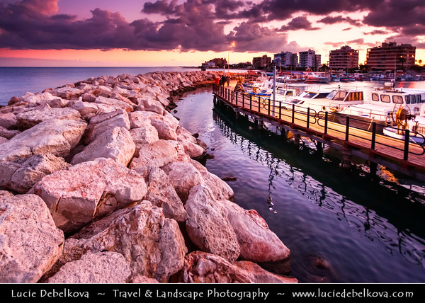 Cyprus - Κύπρος - Kýpros - The third largest island in the Mediterranean Sea - Larnaca - Λάρνακα - Lárnaka - Sunset - Late Evening at Marina with many beautiful boats