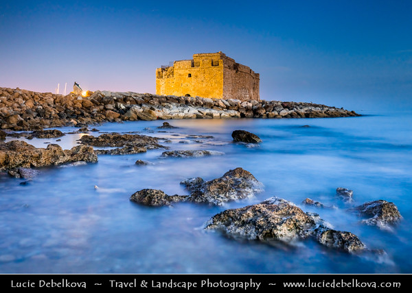Europe - Cyprus - Κύπρος - Kýpros - Third largest island in Mediterranean Sea - Paphos - Πάφος - Pafos - Baf - Paphos Fort - Medieval castle & most distinctive landmark in Paphos, situated at Kato Pafos port originally built as Byzantine fort to protect harbour