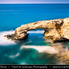 Europe - Cyprus - Κύπρος - Kýpros - Third largest island in Mediterranean Sea - Ayia Napa - Agia Napa - Αγία Νάπα - Southeast coast of Cyprus - Love Bridge - Natural rock arch - Iconic rocky formation