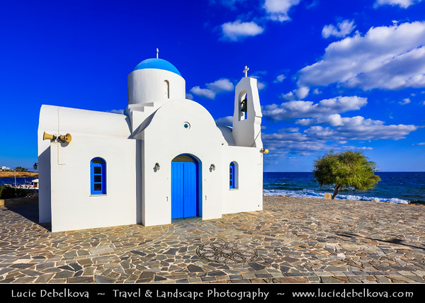 Europe - Cyprus - Κύπρος - Kýpros - Third largest island in Mediterranean Sea - East coast - Protaras - Paralimni - Agios Nikolaos - St. Nicholas church - Typical Greek Orthodox White &Blue chapel located along sea