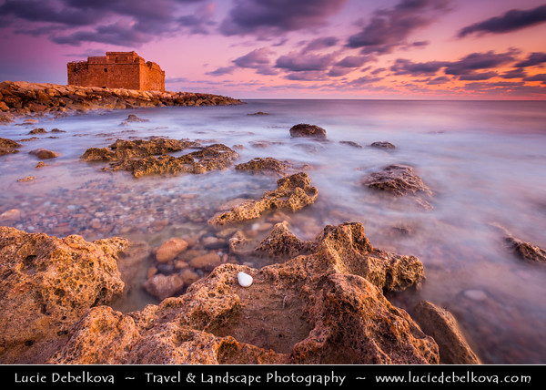 Cyprus - Κύπρος - Kýpros - The third largest island in the Mediterranean Sea - Paphos - Πάφος - Pafos - Baf - Sunset at the harbour and Paphos Fort