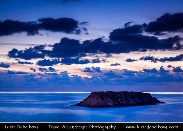 Cyprus - Κύπρος - Kýpros - The third largest island in the Mediterranean Sea - Paphos - Πάφος - Pafos - Baf - Dusk - Twilight - Blue hour at Aghios Georgios Bay