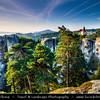 Europe - Czech Republic - Bohemia - Bohemian Paradise - Český ráj - Protected Area &  first nature reserve - UNESCO Geopark - Scenic area with bizarre rock formations - Zámek Hrubá Skála - Hrubá Skála Castle - Renaissance chateau and Iconic landmark situated on a steep sandstone cliff
