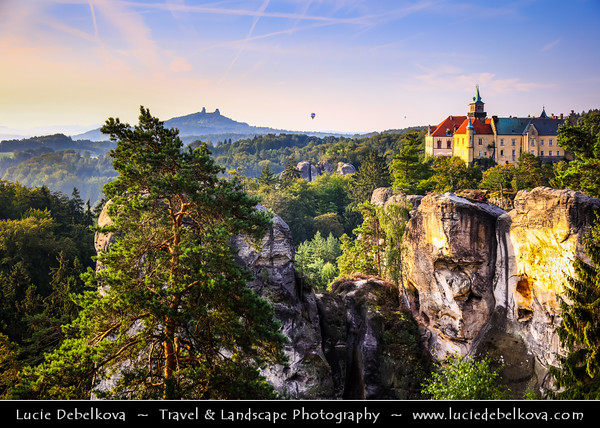 Europe - Czech Republic - Bohemia - Bohemian Paradise - Český ráj - Protected Area &  first nature reserve - UNESCO Geopark - Scenic area with bizarre rock formations - Zámek Hrubá Skála - Hrubá Skála Castle - Renaissance chateau and Iconic landmark situated on a steep sandstone cliff