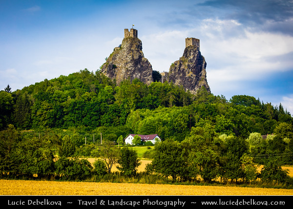 Europe - Czech Republic - Bohemia - Bohemian Paradise - Český ráj - Protected Area &  first nature reserve - UNESCO Geopark - Scenic area with bizarre rock formations - Hrad Trosky - Castle ruins on the summits of two basalt volcanic plugs - One of the most famous Czech castles and Iconic landmark of Bohemian Paradise