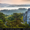 Europe - Czech Republic - Bohemia - Bohemian Paradise - Český ráj - Protected Area &  first nature reserve - UNESCO Geopark - Scenic area with bizarre rock formations - Hruboskalsko Rock Town - One of the best-known rock formations areas with impressive towers reaching up to 55 m and steep canyons - Misty Summer Sunrise