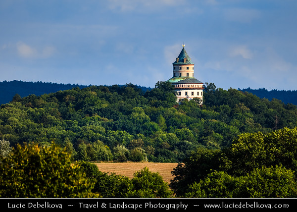 Europe - Czech Republic - Bohemia - Bohemian Paradise - Český ráj - Protected Area &  first nature reserve - UNESCO Geopark - Scenic area with bizarre rock formations - Lovecký zámek Humprecht - Humprechtsberg - Humprecht Chateau - Humprecht castle - Fine example of baroque architecture designed to serve as a hunting lodge or a weekend house