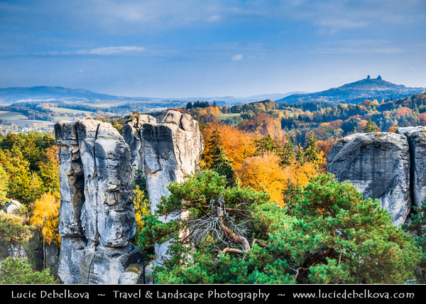 Europe - Czech Republic - Czechia - Bohemian Paradise - Český ráj - Protected Area & first nature reserve - UNESCO Geopark - Scenic area with bizarre rock formations - Hrubá Skála - Steep sandstone cliffs during fall with warm autumn colors