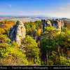 Europe - Czech Republic - Bohemia - Bohemian Paradise - Český ráj - Protected Area &  first nature reserve - UNESCO Geopark - Scenic area with bizarre rock formations - Hruboskalsko Rock Town - One of the best-known rock formations areas with impressive towers reaching up to 55 m and steep canyons during fall with warm autumn colors