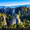 """Europe - Czech Republic - Bohemia - Bohemian Paradise - Český ráj - Protected Area &  first nature reserve - UNESCO Geopark - Scenic area with bizarre rock formations - Hruboskalsko Rock Town - One of the best-known rock formations areas with impressive towers reaching up to 55 m and steep canyons - Vyhlídka na Kapelu - Lookout point with view of a group of rocks called """"Kapela"""" (the Band) and a solitary rock tower called """"Kapelník"""" (Bandleader)"""