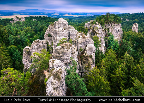 Europe - Czech Republic - Bohemia - Bohemian Paradise - Český ráj - Protected Area &  first nature reserve - UNESCO Geopark - Scenic area with bizarre rock formations - Hruboskalsko Rock Town - One of the best-known rock formations areas with impressive towers reaching up to 55 m and steep canyons