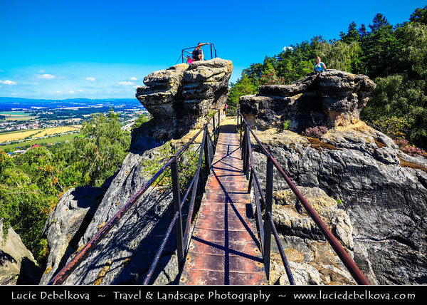 Europe - Czech Republic - Bohemia - Bohemian Paradise - Český ráj - Protected Area &  first nature reserve - UNESCO Geopark - Scenic area with bizarre rock formations - Drábské světničky - Ruin of a 13th-century rock castle on ragged edge of a sandstone cliff high above surrounding landscape