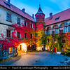 Europe - Czech Republic - Bohemia - Bohemian Paradise - Český ráj - Protected Area &  first nature reserve - UNESCO Geopark - Scenic area with bizarre rock formations - Zámek Hrubá Skála - Hrubá Skála Castle - Renaissance chateau and Iconic landmark situated on a steep sandstone cliff during Autumn colors