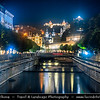 Europe - Czech Republic - Czechia - Karlovy Vary - Carlsbad - Karlsbad - Spa town on confluence of rivers Ohře & Teplá, named after Charles IV, Holy Roman Emperor & King of Bohemia, who founded city in 1370 - Historically famous for its hot springs (13 main springs, about 300 smaller springs) - Historic part of Karlovy Vary with Thermal Spring Colonnade - Hot Spring Colonnade