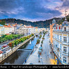 Europe - Czech Republic - Czechia - Karlovy Vary - Carlsbad - Karlsbad - Spa town on confluence of rivers Ohře & Teplá, named after Charles IV, Holy Roman Emperor & King of Bohemia, who founded city in 1370 - Historically famous for its hot springs (13 main springs, about 300 smaller springs) - Historical cityscape along Horka River towards iconic Grandhotel Pupp