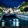 Europe - Czech Republic - Czechia - Karlovy Vary - Carlsbad - Karlsbad - Spa town on confluence of rivers Ohře & Teplá, named after Charles IV, Holy Roman Emperor & King of Bohemia, who founded city in 1370 - Historically famous for its hot springs (13 main springs, about 300 smaller springs) - Historic part of Karlovy Vary with Mill Colonnade - Mlýnská kolonáda - Large colonnade supported by 124 columns containing several hot springs - Night - Evening
