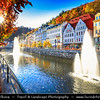 Europe - Czech Republic - Czechia - Karlovy Vary - Carlsbad - Karlsbad - Spa town on confluence of rivers Ohře & Teplá, named after Charles IV, Holy Roman Emperor & King of Bohemia, who founded city in 1370 - Historically famous for its hot springs (13 main springs, about 300 smaller springs) - Historical cityscape along Horka River with fountains along promenade