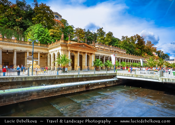 Europe - Czech Republic - Czechia - Karlovy Vary - Carlsbad - Karlsbad - Spa town on confluence of rivers Ohře & Teplá, named after Charles IV, Holy Roman Emperor & King of Bohemia, who founded city in 1370 - Historically famous for its hot springs (13 main springs, about 300 smaller springs) - Historic part of Karlovy Vary with Mill Colonnade - Mlýnská kolonáda - Large colonnade supported by 124 columns containing several hot springs