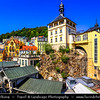 Europe - Czech Republic - Czechia - Karlovy Vary - Carlsbad - Karlsbad - Spa town on confluence of rivers Ohře & Teplá, named after Charles IV, Holy Roman Emperor & King of Bohemia, who founded city in 1370 - Historically famous for its hot springs (13 main springs, about 300 smaller springs) - Historic part of Karlovy Vary with Zámecká věž - Castle Tower seated on rock above Tržiště Street - Last standing remnant of original small Gothic castle, built upon order of Emperor Charles IV around 1358
