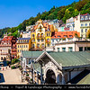 Europe - Czech Republic - Czechia - Karlovy Vary - Carlsbad - Karlsbad - Spa town on confluence of rivers Ohře & Teplá, named after Charles IV, Holy Roman Emperor & King of Bohemia, who founded city in 1370 - Historically famous for its hot springs (13 main springs, about 300 smaller springs) - Historic part of Karlovy Vary with Market Colonnade - Trzni kolonáda - Large colonnade containing several hot springs