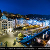 Europe - Czech Republic - Czechia - Karlovy Vary - Carlsbad - Karlsbad - Spa town on confluence of rivers Ohře & Teplá, named after Charles IV, Holy Roman Emperor & King of Bohemia, who founded city in 1370 - Historically famous for its hot springs (13 main springs, about 300 smaller springs) - Historical cityscape along Horka River - Night