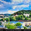 Europe - Czech Republic - Czechia - Karlovy Vary - Carlsbad - Karlsbad - Spa town on confluence of rivers Ohře & Teplá, named after Charles IV, Holy Roman Emperor & King of Bohemia, who founded city in 1370 - Historically famous for its hot springs (13 main springs, about 300 smaller springs) - Panorama of historic part of Karlovy Vary with Thermal Spring Colonnade - Hot Spring Colonnade