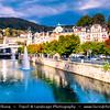 Europe - Czech Republic - Czechia - Karlovy Vary - Carlsbad - Karlsbad - Spa town on confluence of rivers Ohře & Teplá, named after Charles IV, Holy Roman Emperor & King of Bohemia, who founded city in 1370 - Historically famous for its hot springs (13 main springs, about 300 smaller springs) - Cityscape panorama of historic part with Vridelni kolonada - Vřídelní kolonáda - Thermal hot spring colonnade - Modern glass & reinforced concrete building in Functionalistic style with arches over most popular spring built built between 1969 - 1975