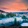 Europe - Czech Republic - Czechia - Karlovy Vary - Carlsbad - Karlsbad - Spa town on confluence of rivers Ohře & Teplá, named after Charles IV, Holy Roman Emperor & King of Bohemia, who founded city in 1370 - Historically famous for its hot springs (13 main springs, about 300 smaller springs) - Historic part of Karlovy Vary with Thermal Spring Colonnade - Hot Spring Colonnade during sunset time